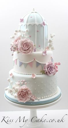 www.cakecoachonline.com - sharing.... Pretty Birdcage wedding cake, with sugar bunting and flowers. www.kissmycake.co.uk