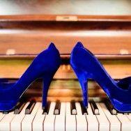 blue velvet wedding shoes | howell photography
