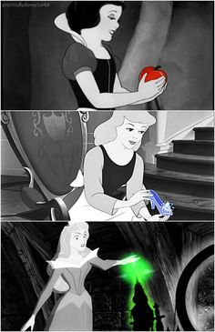Disney princesses, pop of color objects