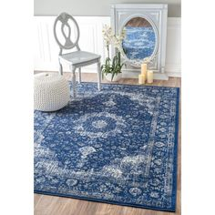 nuLOOM Verona Dark Blue 7 ft. 10 in. x 10 ft. 10 in. Area Rug - RZBD07C-71001010 - The Home Depot