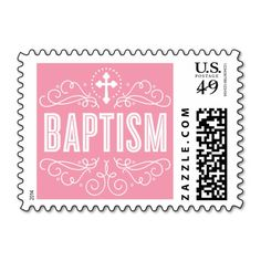 CUTE BAPTISM elegant swirls trendy lolly pink Postage Stamps