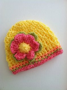 Crochet Baby Hat with Flower Crochet Baby by LakeviewCottageKids, $18.00