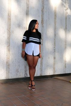 Black and white - F21 Top, Black Denim Shorts, Aquazzura Heels, Alexander Wang Wallet