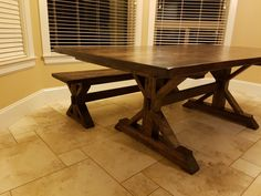 7 Foot Rustic Trestle Table and Bench Trestle Table, Dining Table, Bench, Tables, Woodworking, Rustic, Furniture, Home Decor, Mesas