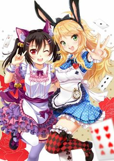 Cute bunny and neko maid #animegirl