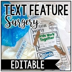 """Do your students struggle with text features? Have your students become doctors and perform """"Text Feature Surgery"""" with a fiction or nonfiction text!This product is EDITABLE so you can choose your own text features to focus on! To make this product more engaging, pick up masks, hair caps, and gloves from the dollar store!This product contains:- Tips for using this product in your classroom- Pre-made recording sheet- Editable recording sheet- Please note: You will need PowerPoint to open and…"""
