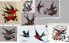 Swallow images from actual 1940s tattoo flash.