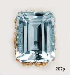 Aquamarine, Diamond, Gold and Platinum Ring by Julius Cohen at Nelson Rarities, Inc.