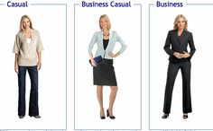 Differences between casual, business casual and business professional attire.