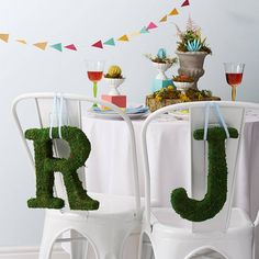 Real Moss Covered Decorative Letter - 100 less ordinary ideas Moss Covered Letters, Moss Letters, Wedding Book, Wedding Table, Wedding Ideas, Outdoor Wedding Decorations, Table Decorations, British Gifts, Bunny Party