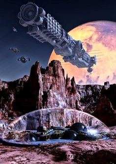 Inspecting The Rim by Jan van de Klooster #spaceships #spacecraft #scifi #JanvandeKlooster