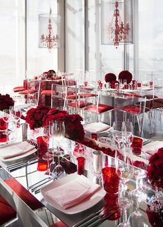 Ruby red chandeliers lit up the room from above, turning the space into a fabulous crimson fairytale.