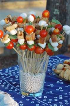 Get more one-handed appetizer ideas here » [Photographs: Helen Jane Hearn] I serve with all the skewers in a bean filled jar—with the skewers anchored in the container by the beans. It makes for an impressive, easy presentation....