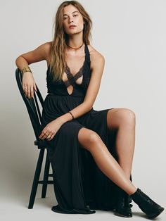 Pin for Later: 31 Sexy Dresses to Slip Into This Valentine's Day Free People Black Widow Maxi Dress Free People Black Widow Maxi Dress ($168)