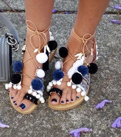 Leather Sandal pom pom