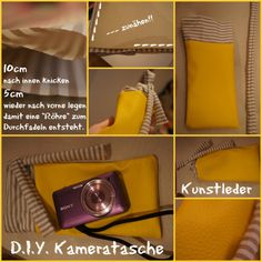 Kamera Tasche DIY by TÖRTEL - Kunstleder Diy, Point And Shoot Camera, Artificial Leather, Bags, Bricolage, Do It Yourself, Homemade, Diys, Crafting