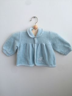 Scandinavian Vintage Short Velvet Baby Housecoat 0-6 months, European Retro Soft Baby Blue Cardigan with an Embroidery by ElleBelleVin on Etsy