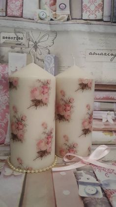 Shabby Chic Set Of Two Mini Florals Decorative Candles Homemade Candles, Diy Candles, Pillar Candles, Candle Wedding Centerpieces, Paper Napkins For Decoupage, Candle Craft, Candlemaking, Shabby Chic, Crafts