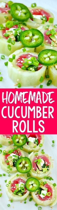 We LOVE these Homemade Naruto Cucumber Rolls! These tasty rice and seaweed-free rolls are wrapped with cucumber and filled with fresh seafood! A sushi bar favorite!