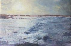 Breathtaking oil and mixed media by devon artist Julie Dunster. Stormy Sea, Devon, Landscape Paintings, Artist, Mixed Media, Outdoor, Oil, Artists, Landscape