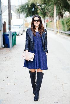 moto jacket + shift dress + thigh high boots.