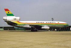 Ghana Airways McDonnell-Douglas DC-10-30 at London Heathrow - wikimedia