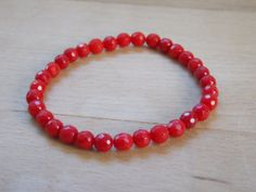 Stretch Beaded Bracelet with 5mm Faceted Round by MalieCreations, $13.95