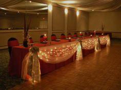 wedding bridal head table lighting & draping decoration