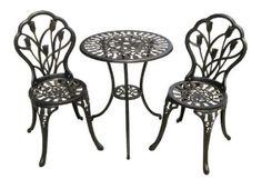 For real tea-parties in the fake garden. --- Amazon.com: BEST Nassau Cast Aluminum Outdoor Bistro Furniture Set: Patio, Lawn & Garden