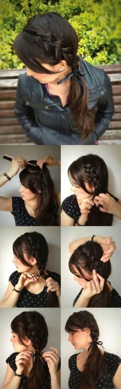 Inverted Side Braid - 5 Updated Braid Styles Try doing a flip in hair before starting braid Chic Hairstyles, Pretty Hairstyles, Braided Hairstyles, Sport Hairstyles, Hairstyles 2016, Medium Hairstyles, Mexican Hairstyles, Wedding Hairstyles, Latest Hairstyles