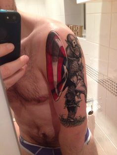 Captain America tattoo marvel comic black and grey