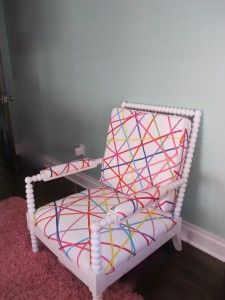 a chair redone with whimsical ribbons!