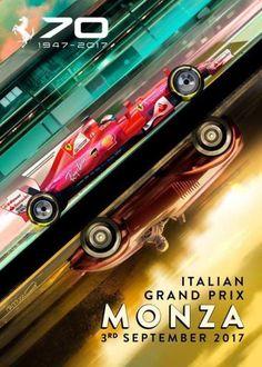 It's Monza time! Scuderia Ferrari's stunning poster for the 2017 Italian Grand Prix at Monza, celebrating 70 years of Ferrari: 1947 - Auto Poster, Car Posters, Sports Posters, Ferrari Racing, Ferrari F1, Nascar, Stock Car, Gp F1, F1 2017