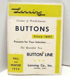 ButtonArtMuseum.com - Vintage Button Advertising Lansing 1954 salesman sample button catalog 2 pages | Collectibles, Sewing (1930-Now), Buttons | eBay!