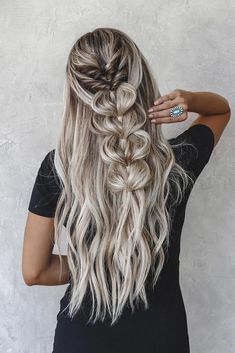 half up half down wedding hairstyles ideas on long silver hair with braids taylo. - - half up half down wedding hairstyles ideas on long silver hair with braids taylor_lamb_hair up frisuren dünne haare Winter Wedding Hair, Wedding Hair Down, Wedding Bride, Wedding Dresses, Braided Wedding Hair, Wedding Looks, Wedding Makeup, Perfect Wedding, Chic Hairstyles