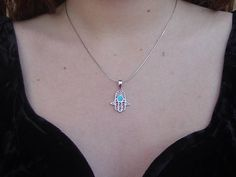 Hamsa Hand Filigree Evil Eye Necklace Sterling Silver 925 Opal