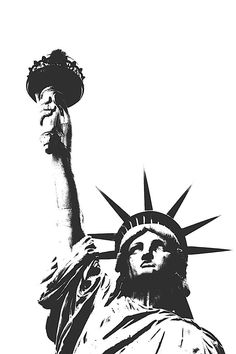size: Stretched Canvas Print: Statue of Liberty (outline) by Erin Clark : Using advanced technology, we print the image directly onto canvas, stretch it onto support bars, and finish it with hand-painted edges and a protective coating. Statue Of Liberty Drawing, Statue Of Liberty Tattoo, Liberty Statue, Clark Art, Outline Art, Desenho Tattoo, Arte Horror, Art Programs, Painting Edges