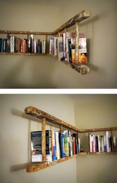 DIY ladder shelf. Would be cool to do with picture frames instead of books