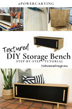 DIY Storage Bench with power carved texture! Diy Furniture Plans, Diy Furniture Projects, Home Furniture, Furniture Design, Wood Projects, Woodworking Ideas Pallets, Woodworking Projects Diy, Woodworking Inspiration, Woodworking Videos