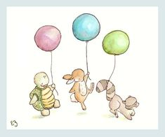 PRINT Nursery Art Home Decor - New Deko Sites Art Et Illustration, Illustrations, Image Deco, Art Mignon, Printed Balloons, Guache, Kindergarten Art, Baby Art, Watercolor Animals