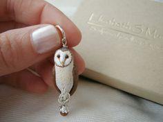 {Barn Owl Bird Necklace Pendant} beautifully hand painted owl
