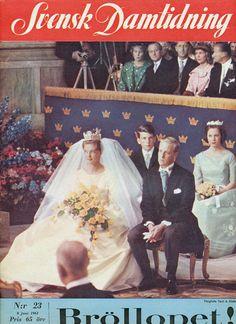 Miss Honoria Glossop:  Princess Birgitta of Sweden and Prince Johan George von Hohenzollern on their wedding day, 1961.  The bridesmaid behind in green is Princess Benedikte of Denmark.