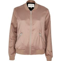 River Island Pink satin bomber jacket ($62) ❤ liked on Polyvore featuring outerwear, jackets, bomber jackets, coats / jackets, pink, women, zip front jacket, bomber jacket, long sleeve jacket and bomber style jacket