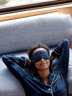 madewell silk pajama shirt worn with the shut-eye sleep mask.