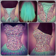 We hope you enjoy these detail shots of Regiss Style Number 15012. Multiple layers of net in turquoise and yellow mix to make this striking colored skirt. The fully boned bodice is lavishly pavéd with irridescent stones of multiple sizes -- these same stones sparkle randomly through the net layers of the full skirt. Traditional corset lacing in back ensures a perfect fit. A gown to be truly treasured.