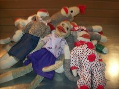 Lot of 10 Sock Monkeys 1 Sock Cat Some New and Some Old | eBay