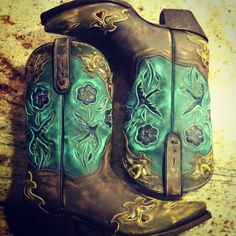 Brown and turquoise cowboy boots