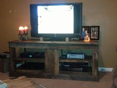 First part of our new entertainment center. ALL FROM PALLETS <3