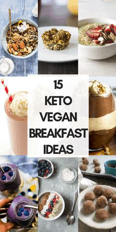 keto vegetarian and vegan breakfast recipes and ideas make for some delicious, easy and healthy nourishment for low-carb diets! From chia pudding to smoothies, and even vegan quiche, we've got you covered with this vegan keto and low-carb recipe round-up! Keto Vegan, Vegan Keto Recipes, Vegetarian Keto, Vegan Breakfast Recipes, Gourmet Recipes, Low Carb Recipes, Breakfast Ideas, Breakfast Hash, Dinner Recipes