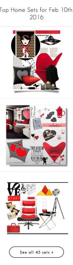 """""""Top Home Sets for Feb 10th, 2016"""" by polyvore ❤ liked on Polyvore featuring interior, interiors, interior design, home, home decor, interior decorating, Betsey Johnson, Howard Elliott, Riedel and Vitra"""